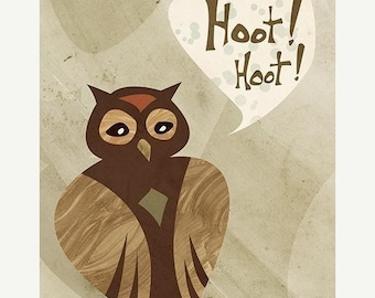 50% Off Summer Sale - Owl Art - Hoot Hoot - 8x10 Print