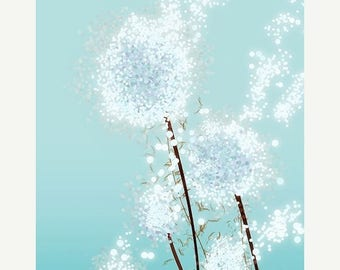 50% Off Summer Sale - Dandelion Art - Perennial Moment (aqua) - 24x36 LARGE Print - Blue Floral Art