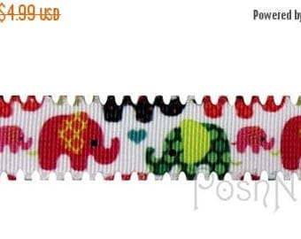 20% OFF EXP 06/30 7/8 INCH Scalloped Mod Elephants Print Grosgrain Ribbon- 5 Yards