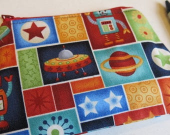 Space coin purse, robot coin purse, robot pouch, kids purse, child's purse, rocket purse