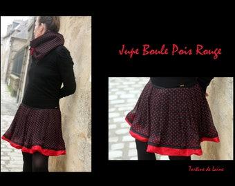 Black Red polka dots skirt