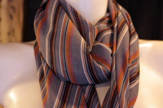 Shawl, scarf, square in stripe Taupe purple-brown viscose chiffon