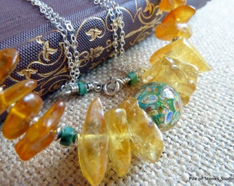 Lucija* Baltic Amber Necklace Artisan Lampwork Jewelry Natural Turquoise Jewelry Yellow Gold Blue Necklace Silver Chain Necklace