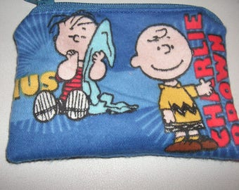 Peanuts handmade zipper fabric coin change purse card holder