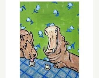 20 % off storewide Hippopotamus at the COFFEE Shop Art Print  JSCHMETZ modern abstract folk pop art american ART