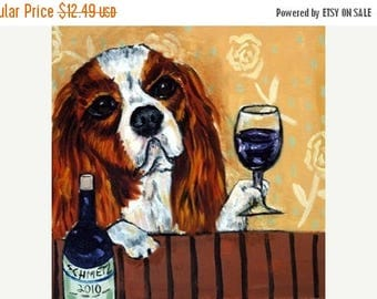 20 % off storewide King Charles Cavalier Spaniel at the Wine Bar Dog Art Tile Coaster Gift