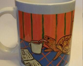 20% off Turtle at the cafe coffee shop mug cup 11 oz art mug cup 11 oz gift