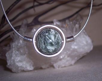 SERAPHANITE -hand-cut -Stone Sphere Necklace