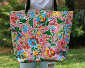 oilcloth tote bag - beach bag - pool bag - reversible bag - waterproof bag