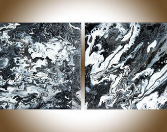 """Black white art abstract art wall art wall decor Original artwork painting on canvas gift for man  """"A Dragon in the Sky""""by qiqigallery"""