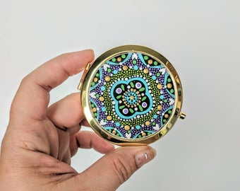 Compact Mirror hand painted functional art mirror small compact mirrors colorful dot Painting