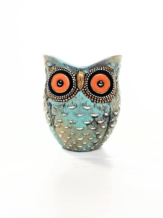 Turquoise blue and gold hand painted Owl shaped votive candle holder
