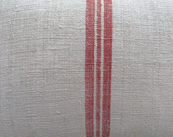 GrainSacK French Red Stripe Pillow, Down Feather, Rustic, French CoTTagE, SHaBBy CHiC, Farmhouse, Urban, Loft, Industrial, Throw Pillow