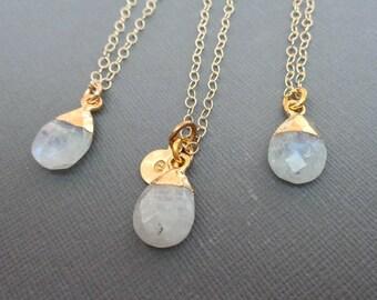Moonstone Initial Gold Necklace - June Birthstone Initial Necklace-Genuine Moonstone Gold- June Gift- Bridesmaid Wedding Gemstone -G32