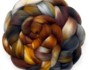 Roving 50/50 Merino and Mulberry Silk, Brown Bear, 4.3 oz.