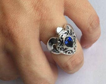 Turtle Ring Blue Sapphire - Sapphire Ring - September Birthstone Ring - Sterling Silver Sea Turtle Ring - Sea Turtle Jewelry - Honu Jewelry