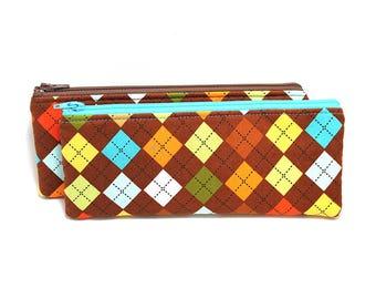 Cosmetic Case, Cord Case, Bridesmaid Gifts, All-Purpose Zipper Case, Argyle Print - Brown Orange Yellow Blue 9066 9067