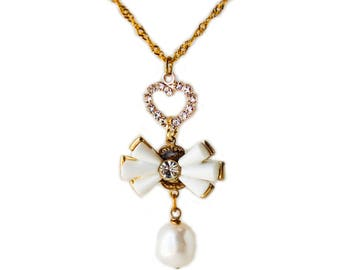 Crystal heart, white bow heart pearl drop gold plated necklace LAST ONE