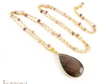 Single - labradorite - gold-plated pendant with labradorite and tourmaline