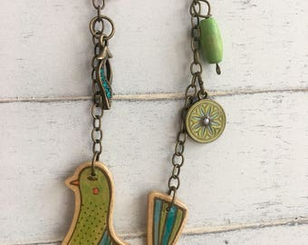 Unique one of a kind bird necklace