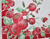 """Vintage Tablecloth Red Fruit Pomegranates by Springmaid 1940's Kitchen Linens 49"""" x 50"""" Table Cloth Table Linens Red Vintage Kitchen Decor"""