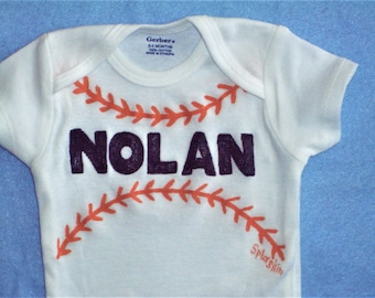 Personalized Baseball Bodysuit, Choose Your Team Colors, Custom Baby Baseball One Piece, Baby Baseball Clothing