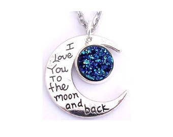 """Blue Faux Druzy I Love You To The Moon And Back Nacklace 30"""" Stainless Steel Chain"""