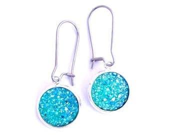 Turquoise Faux Druzy Earrings Stainless Steel Kidney Earwires