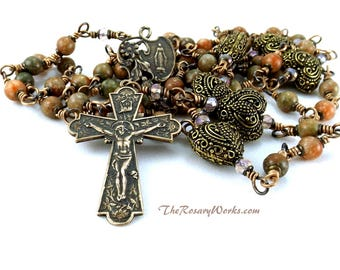 Vintage Style Rosary Beads Our Lady of Grace Solid Bronze Pink Green Jasper Floral Flowers Unbreakable Wire Wrapped Traditional 5 Decade