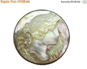 OnSale Abalone Cameo Brooch - Cameo Jewelry, Edwardian, Sterling Silver, Carved Shell, Estate Jewelry