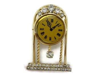 Rhinestone Clock Brooch - Costume Jewelry Gold Tone Clear Stones