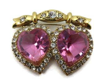 Double Heart Brooch - Pink Rhinestones Costume Jewelry Two Hearts