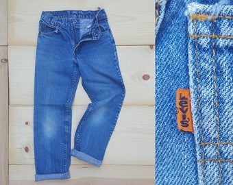 Vintage Kids Jeans  // Vtg 70s 80s Child Sized LEVI'S Made in the USA Distressed Faded Straight Leg Jeans // childrens size 8 / 9