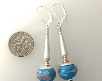 Summer Sale Lamp Work Glass and Sterling Silver Earrings. #4