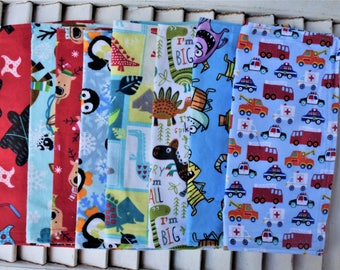 "Set of 8  Mixed Print 10""  Flannel Cloth Napkins,  Wipes"