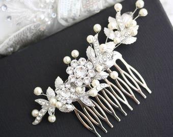 Bridal Hair Comb Wedding Hairpiece Leaf Comb Delicate Hair Comb Side Hair Comb Bridal Headpiece Beaded Hair Comb MIER HAIR PIECE