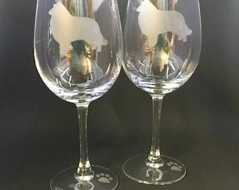 Collie Wine Glasses (set of 2)