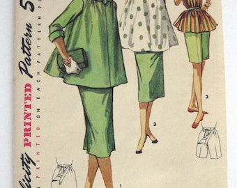 1950s Simplicity pattern 1488  3 piece Maternity Outfit top skirt and Bermuda shorts size 14