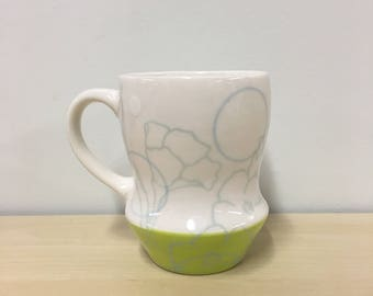 handmade porcelain mug: Dot Floral Print cup by Meredith Host in Chartreuse