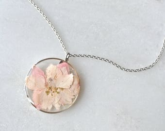 Pink Larkspur Pressed Flower Necklace Pressed Flower Jewelry Botanical