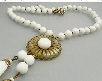 Miriam Haskell White Beaded Lavalier Necklace
