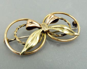 Art Deco Gold Filled Bow Brooch Rose & Yellow Gold Filled
