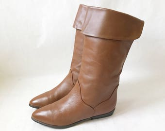 Vintage 80's  Bandolino Tall Cuff Boots. Size 8