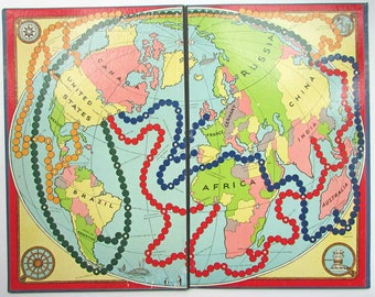 1950's Vintage  Game Board, Message Board, Wall Decor, World Map Colors Board, Geography Wall Decor, Map Decor