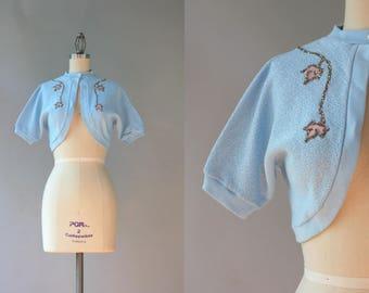 1950s Bolero Cardigan / Vintage 50s Baby Blue Cutaway Cardigan / 50s Glittering Leaves Sweater S/M small medium