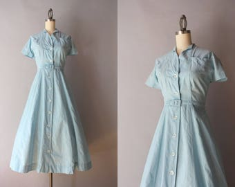 1950s Dress / Vintage 1940s Cotton Chambray Day Dress / 50s Full Skirt Georgianna Shirt Dress S/M small medium