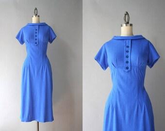 1950s Wiggle Dress / Vintage 50s Bold Blue Jersey Knit Wiggle Dress / 1950s Fitted Sweater Dress M medium