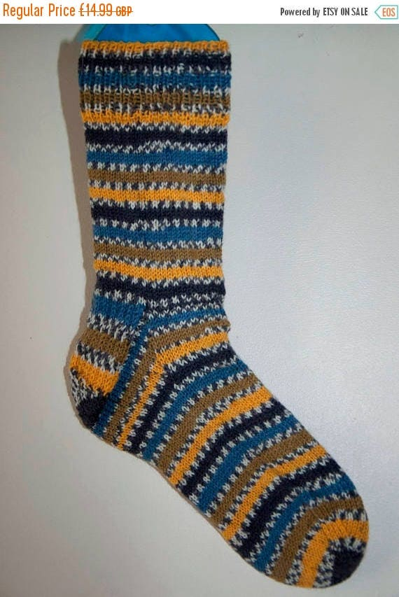 Christmas In July Handknitted Socks in Blues, Greens and Yellows Colours