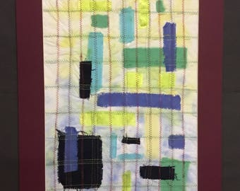 Blocks in Checks Paper and Fabric Collage
