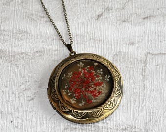 Red Flower Locket Necklace, Floral Necklace, Flower Locket Necklace